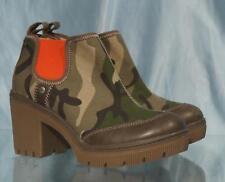 Very Nice Rustic Camouflage CAT Platform Ankle High Slip-On Heels Sz 6M