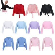 Girls Long Sleeve Ballet Cardigan Costume Dance Gymnastics Knit Wrap Sweater