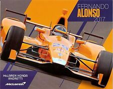2017 FERNANDO ALONSO McLAREN HONDA AA INDIANAPOLIS 500 HERO PHOTO CARD INDY CAR