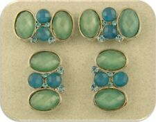 2 Hole Beads Blue Lucite Satin Facets Aquamarine Swarovski Crystal Elements Qty4