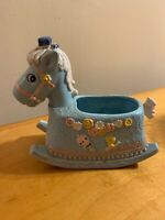 Vintage Napco Pastel Blue Rocking Horse Planter Japan Nursery P8