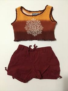 BABW Build a Bear Red Rust Tank w Jewel & Cargo Shorts Set Teddy Clothes Outfit