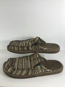 Sanuk Brown Slide Slippers Mens Size US 12 New