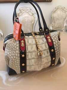 Marino Orlandi handbag large boxy cream new made in Italy