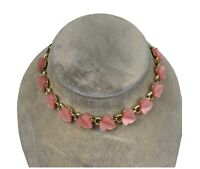 Coro Pink Moonglow Lucite Thermoset Leaf Link Goldtone Choker Necklace 1950s 15""