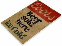 Coors Beer Sold Here Rustic Retro Tin Metal Sign