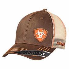 Ariat Western Mens Hat Baseball Cap Mesh Snap Oilskin Logo Orange Brown 1506102