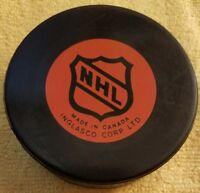 MONTREAL CANADIENS vintage orange shield  NHL HOCKEY inglasco OFFICIAL GAME PUCK