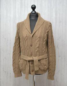 Polo Ralph Lauren Linen Cotton Hand Knit Shawl Cardigan Mens Sz S / M