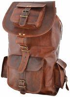 Mens Leather Travel Rucksack Camping Satchel Shoulder Backpack School Laptop Bag