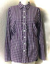 Lands End Womens Plaid Purple Check Cotton Button Down Long Sleeve Shirt SZ 14