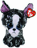 "2019 TY 6"" Flippables PORTIA Dog Beanie Boos Sequins Plush Toy MWMTs Heart Tags"