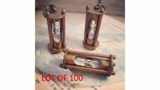 LOT OF 100 Antique Brass Sand Timer Necklace And Pendant Style Key Chain
