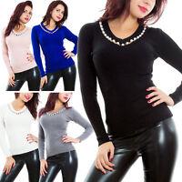 Maglione donna pullover maniche lunghe scollo V inverno gioiello perle KK7039B