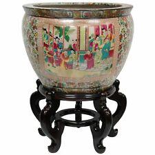 "Oriental Furniture 16"" Rose Medallion Porcelain Fishbowl"