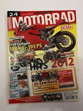 Motorradzeitschrift Motorrad Ausgabe 24/2011, Buell Ulysses XB12X, Tiger 800 XC