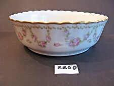 9 1/2 inch Limoges Serving Bowl Hand Painted Garland of Roses