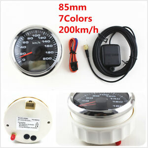 Marine Boat Auto GPS Speedometer Speed Meter Gauge 85mm 200km/h 9-32V 7 Colors