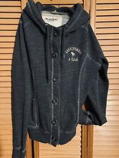 A&F Button Up Ladies L Hooded Blue Grey Thick Sweat Coat