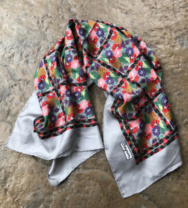 """BAYRON VTG HAND ROLLED Silk Scarf 34"""" Square Gray Red Black Green Floral Rare"""