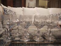 Set 9 Vtg Crystal Panelled Etched Wine Glasses