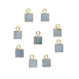 Square Shape Natural Lite Blue Opal Gold Plated Charms DIY Connectors 9 Pcs Lot