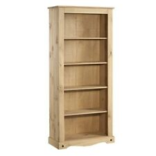 Mexican Solid Pine Corona Tall Bookcase, Bookshelf 6ft tall 5 Shelves Furniture