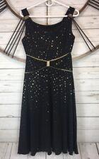 En Focus Petite 6 Black Gold Flowy Stretch Dress Sleeveless Cocktail Evening