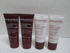 (2) KERANIQUE Scalp Stimulating Shampoo & Volumizing Keratin Conditioner 1 oz ea