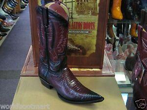 LOS ALTOS BURGUNDY 3X-TOE GENUINE TEJU LIZARD WESTERN COWBOY BOOT (D) 95DV0743