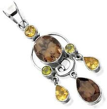 Brand New Sterling Silver Smokey Quartz Crystal Citrine and Peridot Pendant