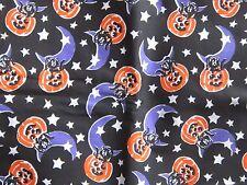 Great holiday novelty print fabric material moons & cats Halloween pumpkins fun