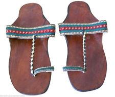 Women Slippers Indian Handmade Leather Flip-Flops Brown Jutties US 10