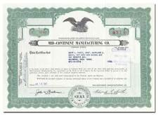 Mid-Continent Manufacturing Co. Stock Certificate