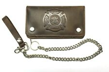 Firefighter Biker Wallet With Chain ,Dark Brown Antique Leather - New