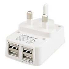 UK Mains Wall 3 Pin Travel Adapter Charger 4 USB Ports for Mobile Phones Tablets
