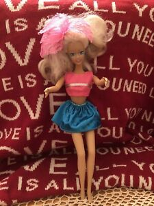 Barbie Doll size Hot Pink silver Top Pink Hair Frilly Blue Skirt GUC Free gift