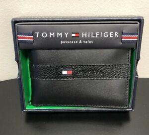 TOMMY HILFIGER Men's BLACK LEATHER Passcase & Valet WALLET / BILLFOLD NEW