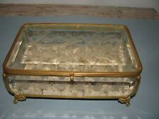 Antique Beveled Etched Glass Ormalu Casket Jewelry Box Birds Bee Flowers