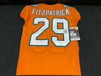 #29 MINKAH FITZPATRICK MIAMI DOLPHINS SIGNED ISSUED COLOR RUSH JERSEY JSA COA