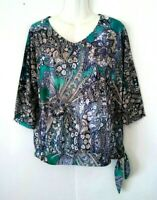 WOMEN'S CHICO'S EMBELLISHED WITH RHINESTONES FLORAL PAISLEY 3/4 SLEEVE TOP 1