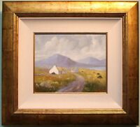 GEORGE KELLY Original Signed Oil Painting Art IRISH COTTAGES AT DONEGAL IRELAND