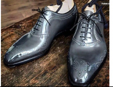 Handmade Men brogue Gray Leather Formal Shoes, Men Designer Oxford Dress shoes