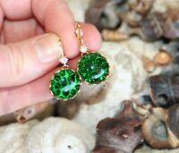 Vintage German Emerald green pin fire art glass brass dangle crystal earrings
