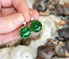 Vintage German Emerald green pin fire art glass brass dangle crystal earrings