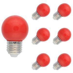6X E27 Farbig LED Leuchtmittel Birnenform Bunt Tropfenlampe Glühbirnen Rot