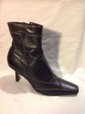 Barratts Black Ankle Leather Boots Size 5