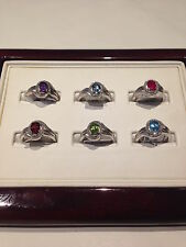 Sterling Silver Genuine Birthstone and Diamond Rings