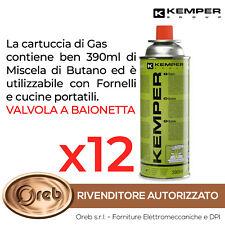 BOMBOLETTA CARTUCCIA GAS KEMPER 577 BUTANO 390 ML 227 GR  FORNELLO CAMPEGGIO 12x