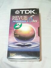 New TDK Revue Premium Quality 6hrs- 2 Pack VHS Tapes(Record,Rewind,Reuse)